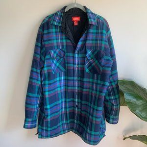 Vintage Coleman Bright Blue Plaid Quilted Flannel